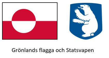 Denna bild har ett alt-attribut som är tomt. Dess filnamn är Grönlands-flagga-och-statsvapen.jpg